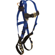FallTech 7016 Contractor 1-D Full Body Harness, 1 Back D-ring, Navy/Yellow, Size UniFit