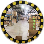 "Acrylic Indoor Convex Mirror with Safety Border & T Mounting Bracket, 30"" Diameter"