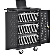 Mobile Storage & Charging Cart, 36 iPad® Tablet Device Capacity, Black, Assembled