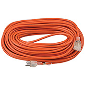 100 Ft. Outdoor Extension Cord w/ Lighted Plug, 16/3 Ga, 10A, Orange