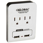 2 Outlet Wall Adapter w/ 2 USB Charging Ports, 15A, 125V, 1875W, 5V DC, 2.4A, UL/CUL