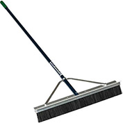 "28"" Double Play Scarifier Broom, 3 Bristle Rows, 66"" Blue Aluminum Handle"