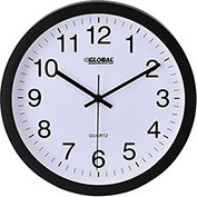 "12"" Wall Clock, Plastic, Black"