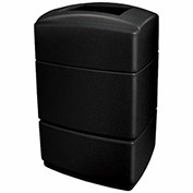 Commercial Zone Rectangular Waste Receptacle, 40 Gallon, Black