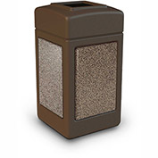 Commercial Zone StoneTec® 42 Gallon Square Waste Receptacle, Brown w/Riverstone Panels