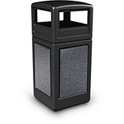 Commercial Zone StoneTec Square Receptacle with Dome Lid, 42 Gallon, Black w/Pepperstone Panels