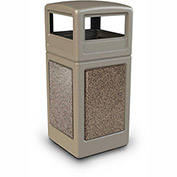 Commercial Zone StoneTec® 42 Gallon Square Receptacle with Dome Lid, Beige w/Riverstone Panels