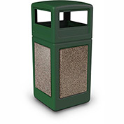 Commercial Zone StoneTec 42 Gallon Square Receptacle with Dome Lid, Forest Green w/Riverstone Panels