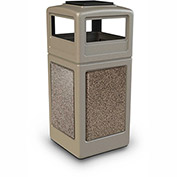 Commercial Zone StoneTec 42 Gallon Square Receptacle with Ashtray Lid, Beige w/Riverstone Panels