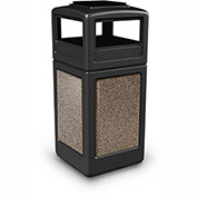 Commercial Zone StoneTec 42 Gallon Square Receptacle with Ashtray Lid, Black w/Riverstone Panels