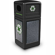 Commercial Zone StoneTec® 42 Gallon Recycle Container, Black w/Pepperstone Panels