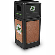 Commercial Zone StoneTec® 42 Gallon Recycle Container, Black w/Sedona Panels
