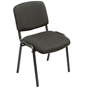 Stacking Guest Chair, Fabric, Black - Pkg Qty 4