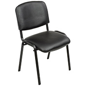 Stacking Guest Chair, Vinyl, Black - Pkg Qty 4