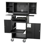 "Mobile Fold-Out Computer Security Cabinet, Unassembled, Black, 24-1/2""W x 22-1/2""D x 61-1/2""H"