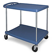 "Metro myCart™ 2-Shelf Utility Cart with Chrome-Plated Posts, Blue, 34x27"" Shelves"