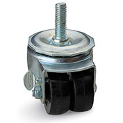 Threaded Stem Caster Dual Hard Rubber Wheel with Delrin Bearing Swivel with Thumb Screw Brake