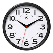 "Metro Wall Clock, 9"" Diameter Black"
