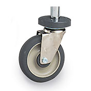 "Metero Casters for Wire Shelving, Polyurethane, Rigid with Bumper, 5"" Diameter"