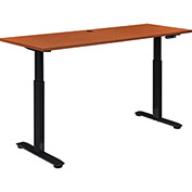 "Sit and Standing Desk, Electric Motorized Height Adjustable, Cherry, 60""L X 24""D"