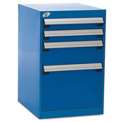 """Four-Drawer Pedestal For Modular Mobile Cabinets - 3"""",6"""",12"""" Front Drawer Heights"""