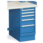"Narrow-Body 5-Drawer Pedestal - 2-7/8"", 3-7/8"", 5-3/4"", 7-3/4"" Front Drawer Heights"