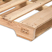 "Hardwood Pallets, Heat Treated And Stamped Pallet, 64""Wx48""Lx4-7/8""H - Pkg Qty 10"