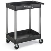 """Relius Solutions Tray-Shelf Carts With Nickel Legs, 2 Shelves, Tub Top, 24x18x34-1/4"""""""