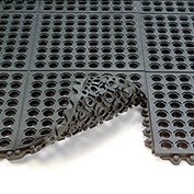 24/Seven Anti-Fatigue Mat, Cutting Fluid Resistant Rubber, Drainage Tile, 3X3'