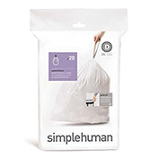 Plastic Liner For Simplehuman Stainless Steel Butterfly Step Can, Recycler Can, 20/Pk