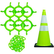 Mr. Chain 93277-6  Traffic Cone & Chain Kit with Reflective Collars, Safety Green