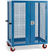 """Wire Security Truck, 48""""W x 30""""D x 60""""H, 5"""" Poly Casters, Blue"""