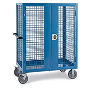 """Wire Security Truck, 48""""W x 30""""D x 60""""H, 8"""" Gray Non-Marking Rubber Casters, Blue"""