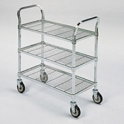 "RELIUS SOLUTIONS Square-Post Wire Utility Carts with Rubber Casters -36""Wx24""D Shelf - 3 Shelves"
