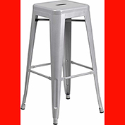 30'' High Backless Metal Barstool with Square Seat, Indoor-Outdoor, Silver, 4 Pack - Pkg Qty 4