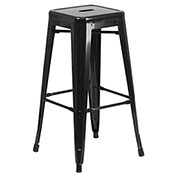 30'' High Backless Metal Barstool with Square Seat, Indoor-Outdoor, Black - Pkg Qty 4