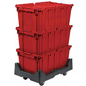 Attached Lid Shipping Container with Dolly Combo, 27-3/16 x 16-5/8 x 12-1/2, Red