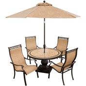 5 Piece Outdoor Dining Set w/ Umbrella and Base