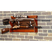 American Furniture Classics Wood Gun Wall Rack, 2 Gun Capacity, Medium Brown