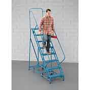 "EGA K302 Steel 360 Degree Rotating Ladder 8-Step, 24"" Wide Grip Strut, Blue, 450 lb. Capacity"