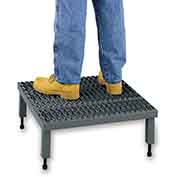 "EGA AHW-H-2460 Steel Adjustable Height Platform 1-Step, 24"" Wide Grip Strut, Gray, 500 lb. Capacity"