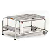 "EGA A005 Mobile Aluminum Work Platform 3-Step, No Handrails, 24"" W Ribbed, Mill, 300 lb. Capacity"