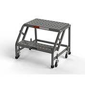 "EGA L001 Steel Industrial Rolling Ladder 2-Step, 16"" Wide Perforated, Gray, 450 lb. Capacity"