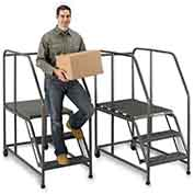 "EGA W038 Steel Mobile Work Platform 4-Step, No Handrail, 24"" Wide Grip Strut, Gray, 800 lb. Capacity"