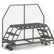 "EGA D017 Steel Dual Access Mobile Platform 3-Step, 36"" Wide Grip Strut, Gray, 800 lb. Capacity"