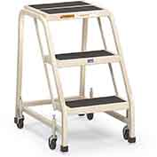 "EGA F004 Steel Office Ladder 3-Step, 16"" Wide Vinyl Covered, Almond, 450 lb. Capacity"