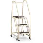 "EGA F011 Steel Office Ladder 2-Step, 16"" Wide Vinyl Covered, Gray, 450 lb. Capacity"