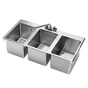"Krowne 36"" x 18"" Three Compartment Drop-In Hand Sink, HS-3819"