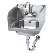 """Krowne 16"""" Wide Hand Sink with Side Splashes and P-Trap with Overflow, HS-5"""