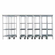 "7 Unit SPACE TRAC Storage Shelving, 14 Ft. Long, Poly-Z-Brite, 48""W x 18""D x 74""H"
